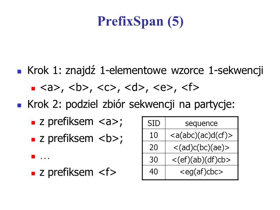 PrefixSpan (5) Krok 1: znajdź 1-elementowe wzorce 1-sekwencji