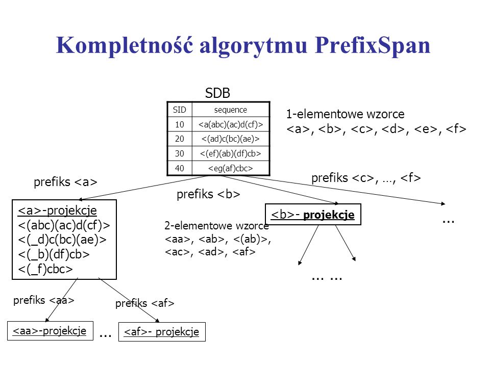 Kompletność algorytmu PrefixSpan