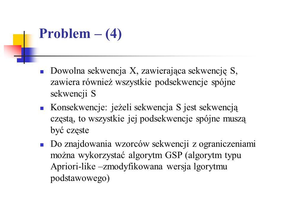 Problem – (4) Dowolna sekwencja X, zawierająca sekwencję S, zawiera również wszystkie podsekwencje spójne sekwencji S.