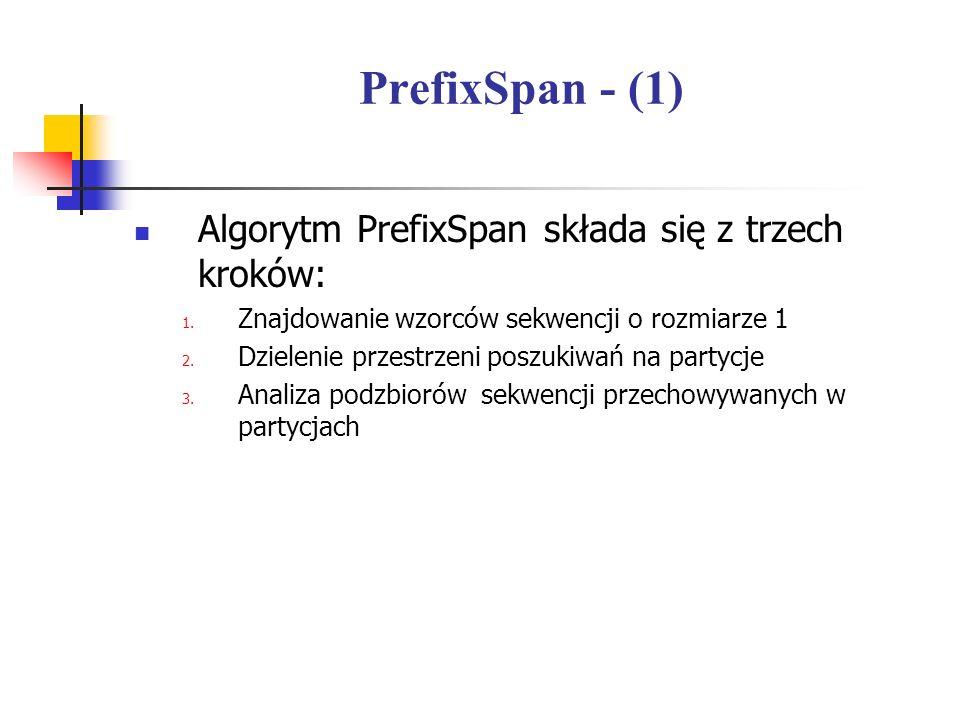 PrefixSpan - (1) Algorytm PrefixSpan składa się z trzech kroków: