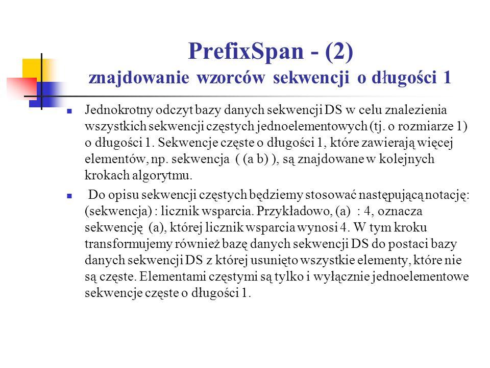 PrefixSpan - (2) znajdowanie wzorców sekwencji o długości 1
