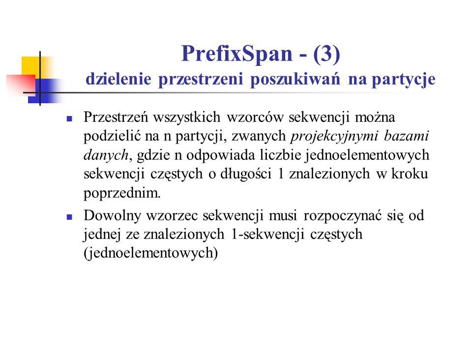 PrefixSpan - (3) dzielenie przestrzeni poszukiwań na partycje