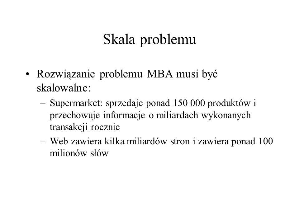 Skala problemu Rozwiązanie problemu MBA musi być skalowalne: