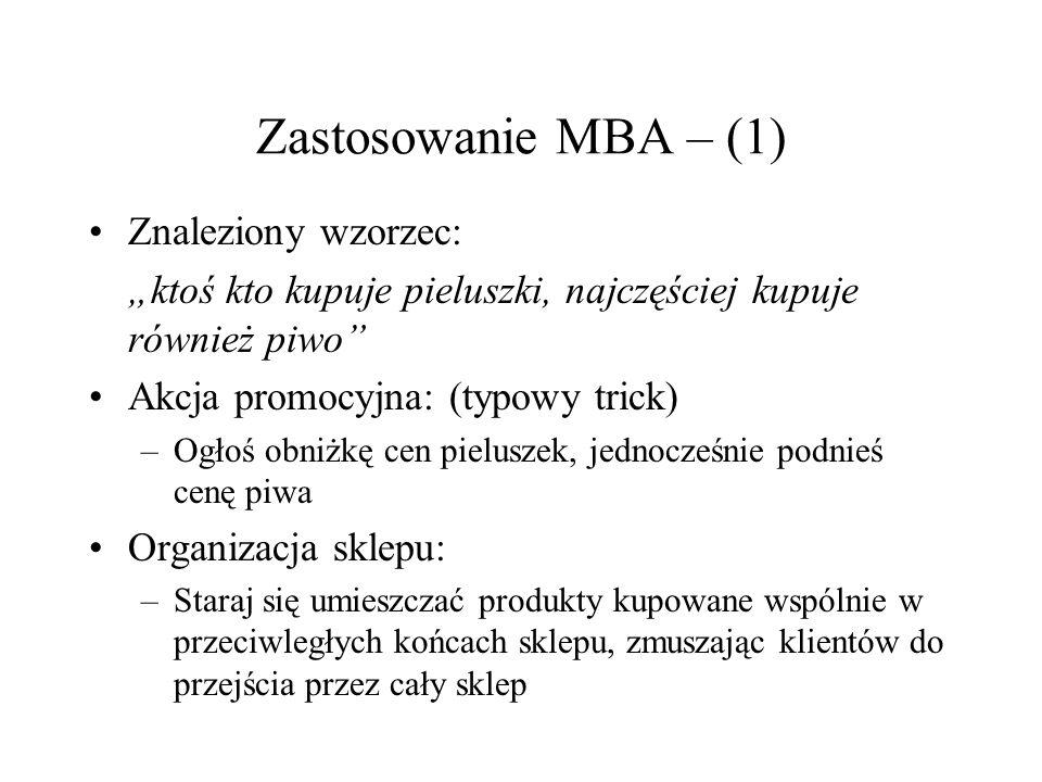 Zastosowanie MBA – (1) Znaleziony wzorzec: