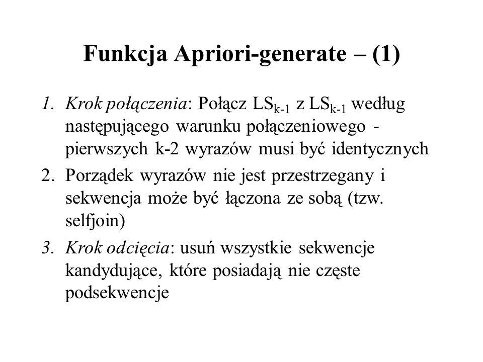 Funkcja Apriori-generate – (1)