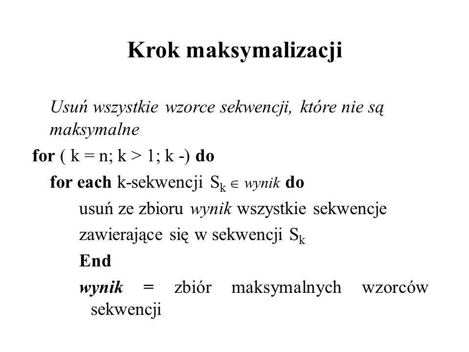 Krok maksymalizacji Usuń wszystkie wzorce sekwencji, które nie są maksymalne. for ( k = n; k > 1; k -) do.