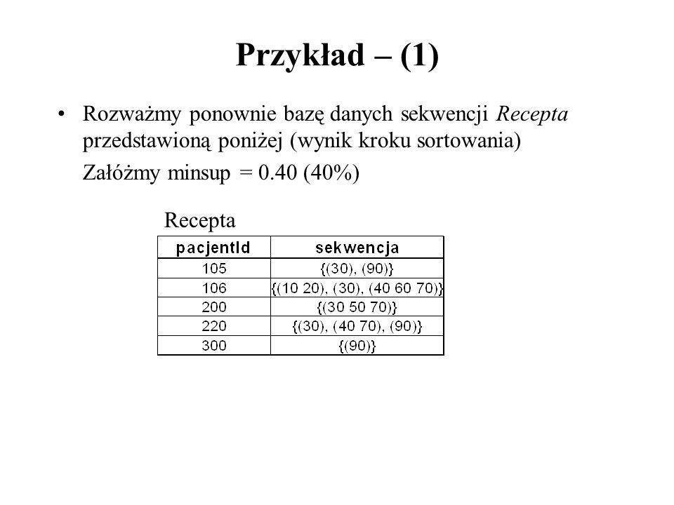 Przykład – (1) Rozważmy ponownie bazę danych sekwencji Recepta przedstawioną poniżej (wynik kroku sortowania)