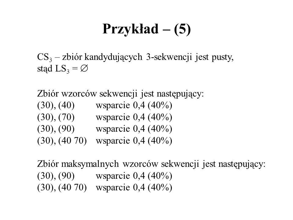Przykład – (5) CS3 – zbiór kandydujących 3-sekwencji jest pusty,