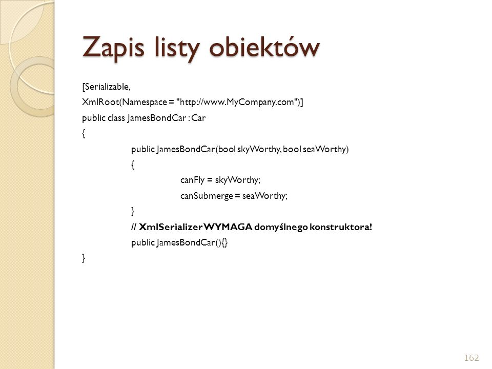 Zapis listy obiektów