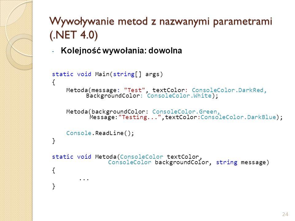 Wywoływanie metod z nazwanymi parametrami (.NET 4.0)