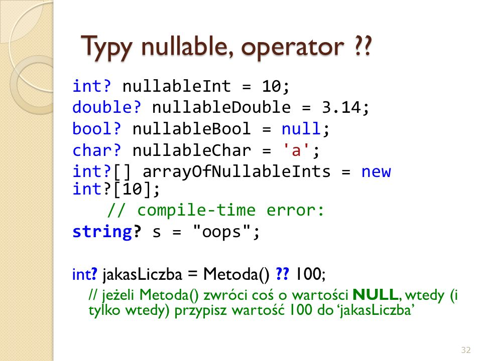 Typy nullable, operator