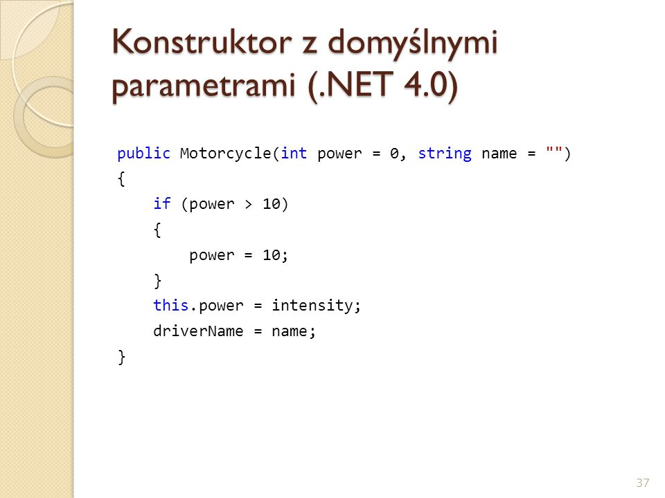 Konstruktor z domyślnymi parametrami (.NET 4.0)