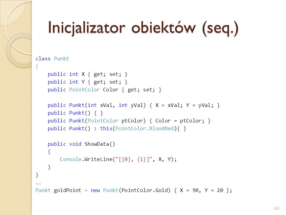 Inicjalizator obiektów (seq.)