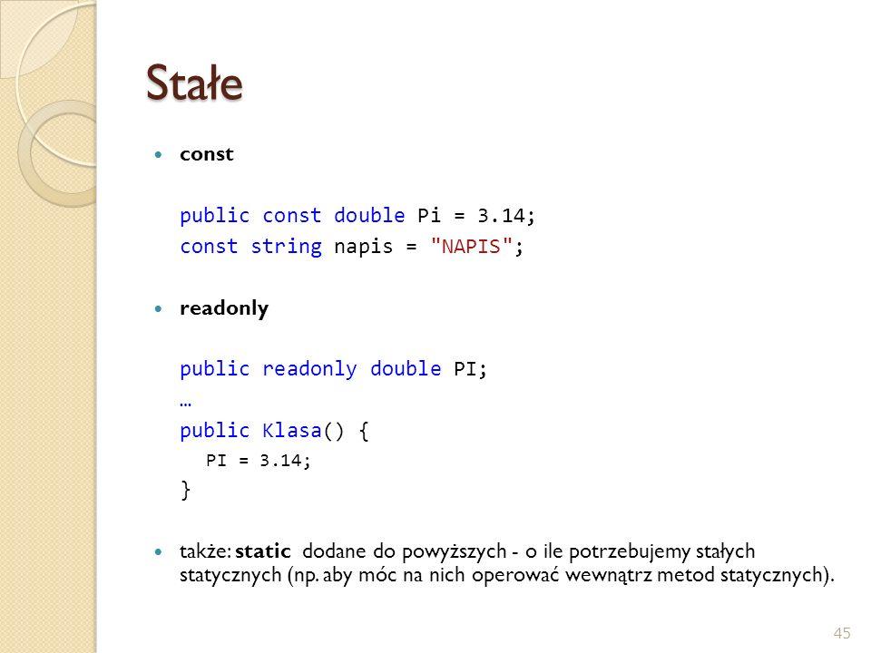 Stałe const public const double Pi = 3.14;