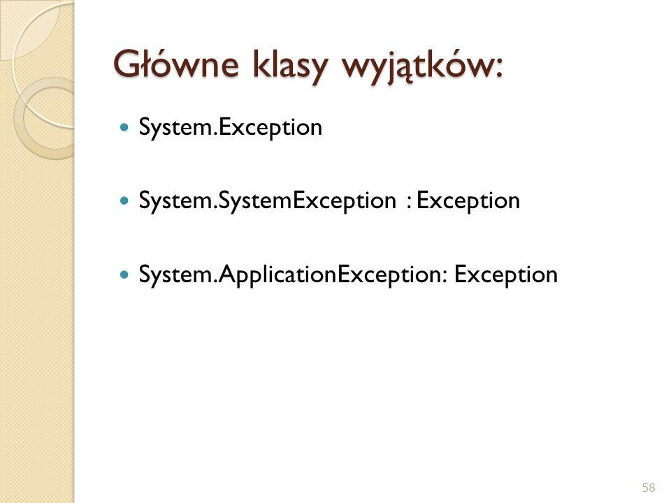 Główne klasy wyjątków: