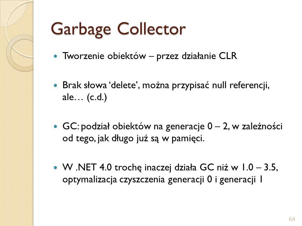 Garbage Collector Tworzenie obiektów – przez działanie CLR