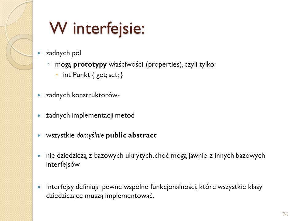W interfejsie: żadnych pól