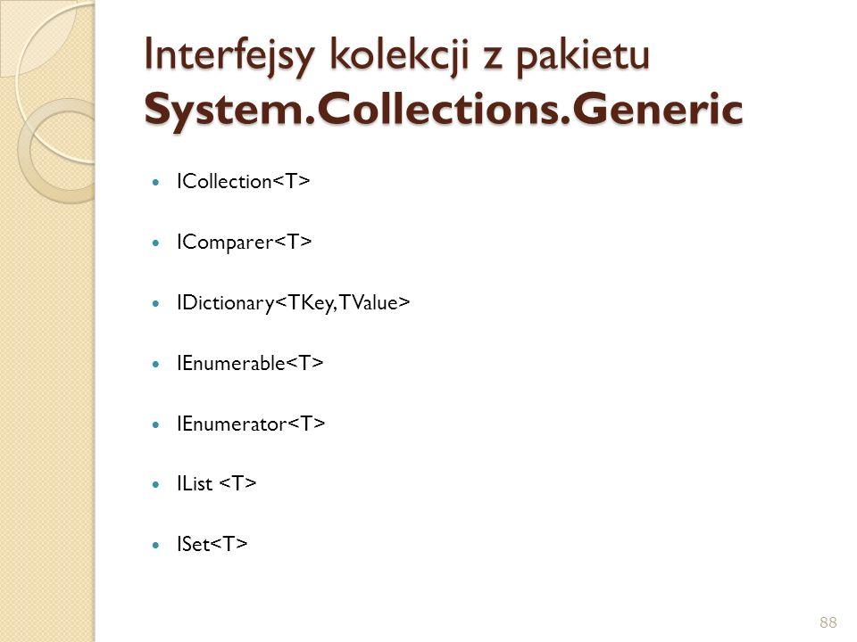 Interfejsy kolekcji z pakietu System.Collections.Generic