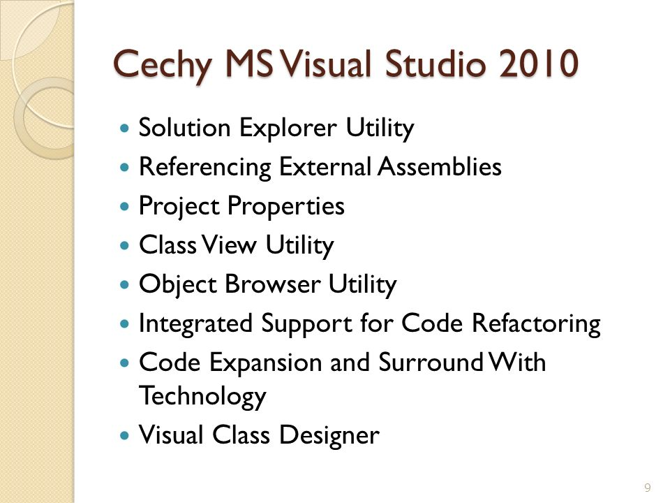 Cechy MS Visual Studio 2010 Solution Explorer Utility