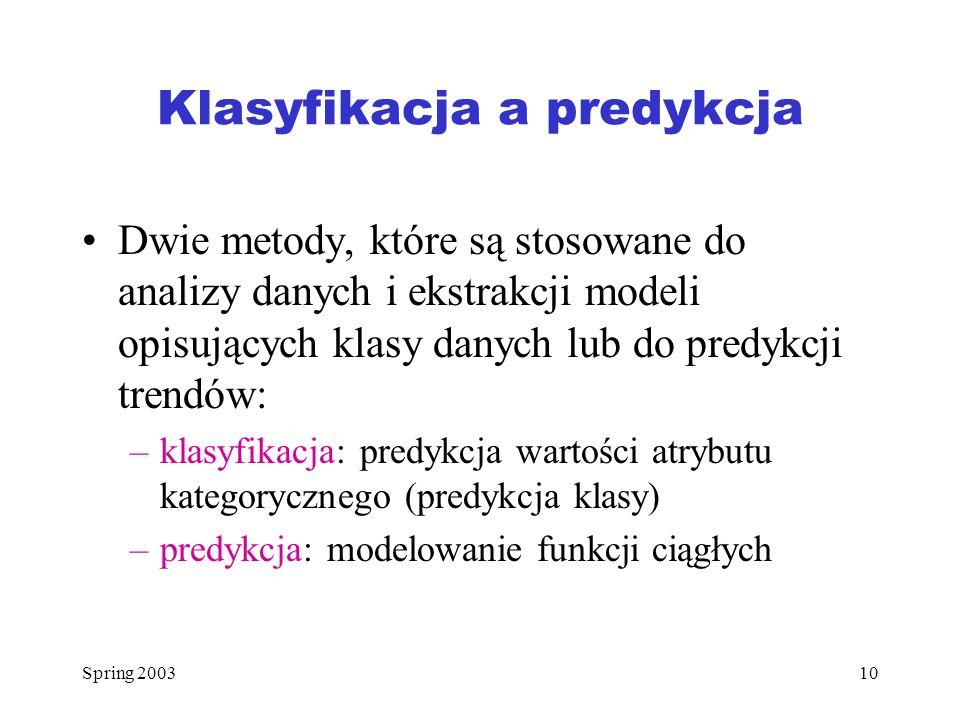 Klasyfikacja a predykcja