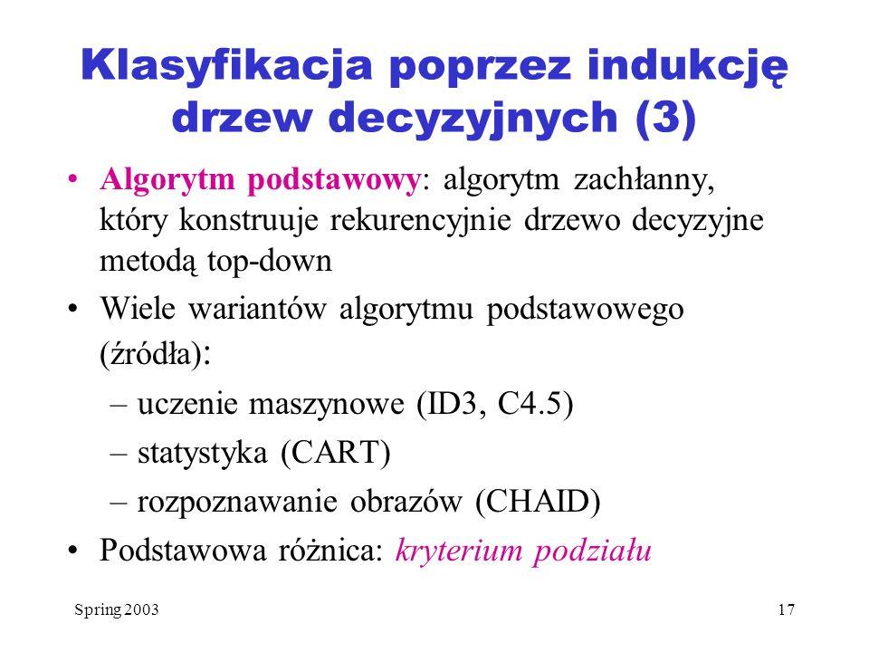 Klasyfikacja poprzez indukcję drzew decyzyjnych (3)