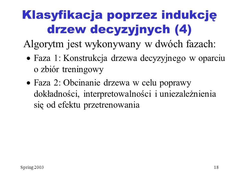 Klasyfikacja poprzez indukcję drzew decyzyjnych (4)
