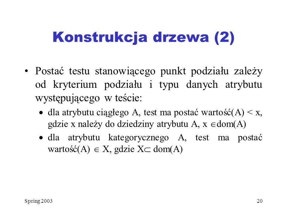 Konstrukcja drzewa (2) Postać testu stanowiącego punkt podziału zależy od kryterium podziału i typu danych atrybutu występującego w teście: