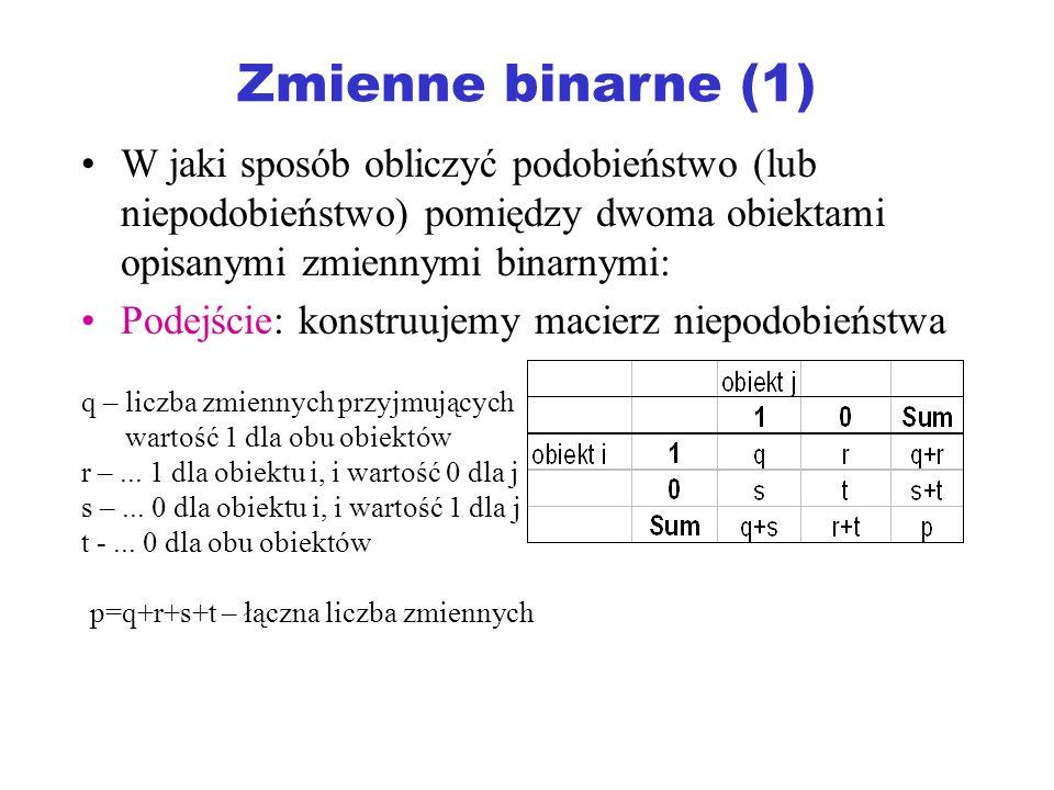 Zmienne binarne (1) W jaki sposób obliczyć podobieństwo (lub niepodobieństwo) pomiędzy dwoma obiektami opisanymi zmiennymi binarnymi: