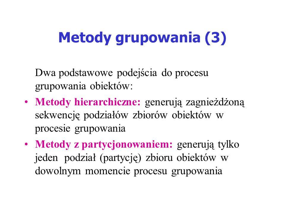 Metody grupowania (3) Dwa podstawowe podejścia do procesu grupowania obiektów: