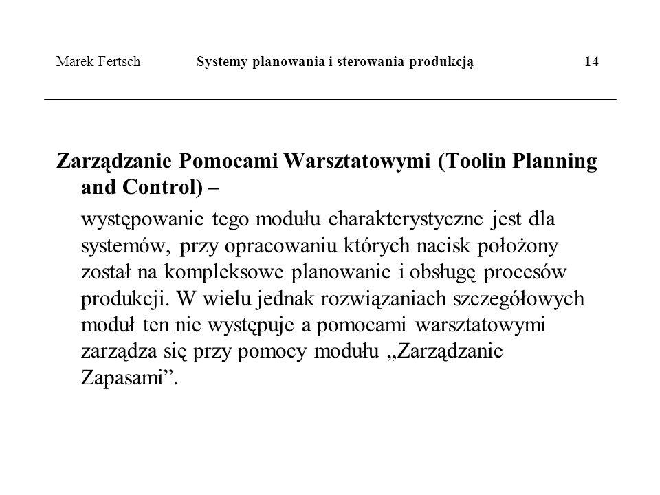 Marek Fertsch Systemy planowania i sterowania produkcją 14