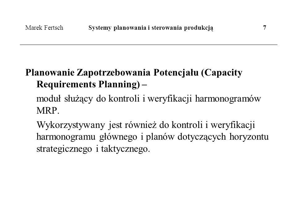 Marek Fertsch Systemy planowania i sterowania produkcją 7