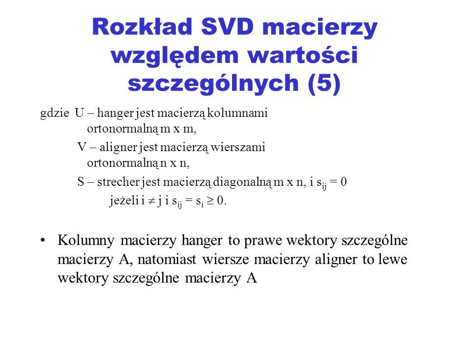 Rozkład SVD macierzy względem wartości szczególnych (5)