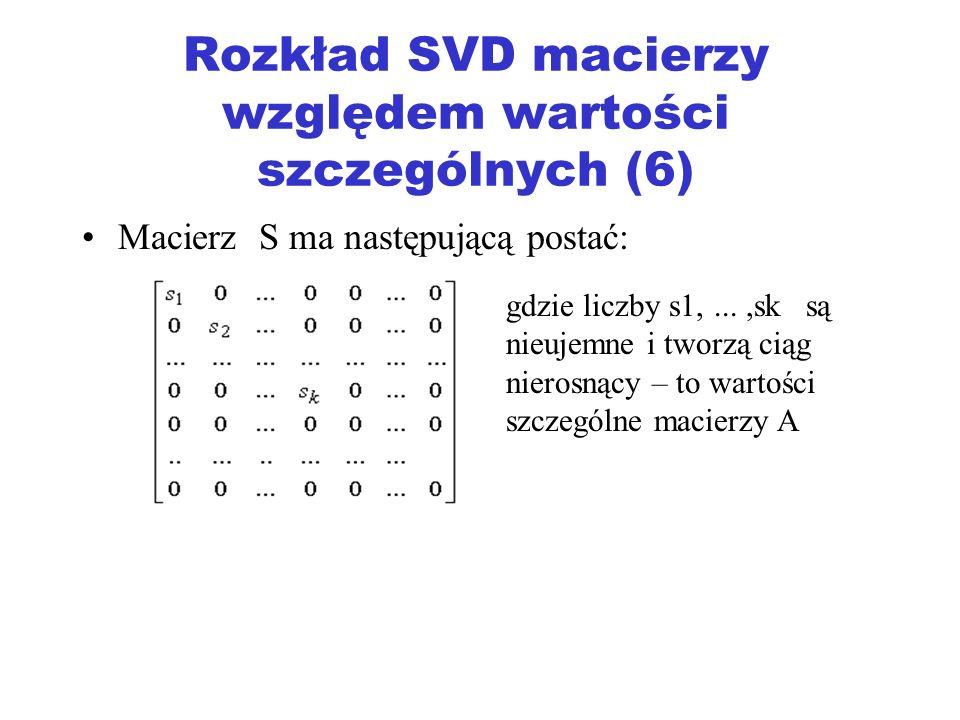 Rozkład SVD macierzy względem wartości szczególnych (6)