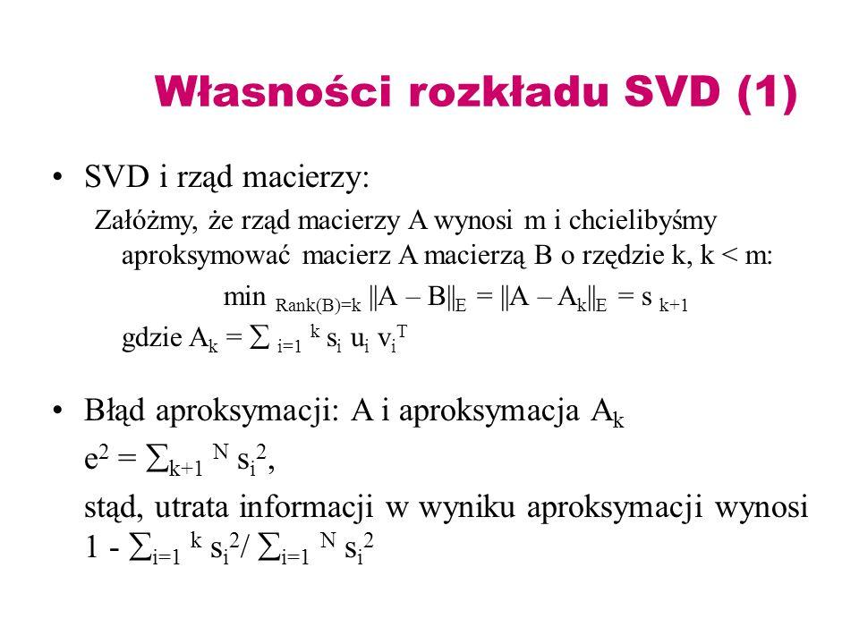 Własności rozkładu SVD (1)
