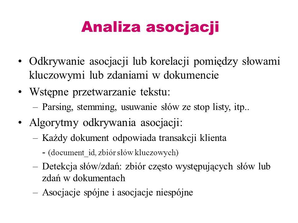 Analiza asocjacji Odkrywanie asocjacji lub korelacji pomiędzy słowami kluczowymi lub zdaniami w dokumencie.
