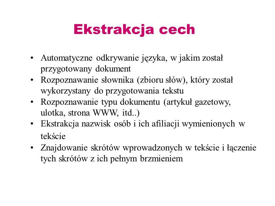 Ekstrakcja cech Automatyczne odkrywanie języka, w jakim został przygotowany dokument.