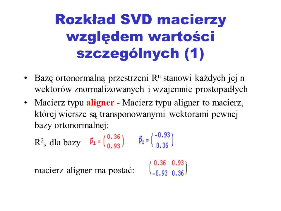 Rozkład SVD macierzy względem wartości szczególnych (1)