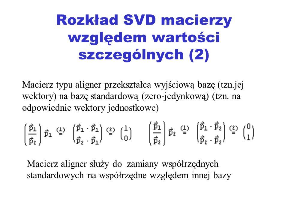 Rozkład SVD macierzy względem wartości szczególnych (2)