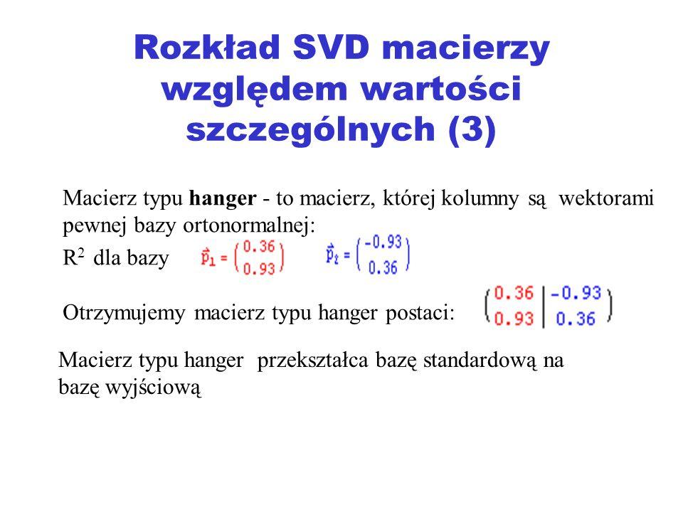 Rozkład SVD macierzy względem wartości szczególnych (3)