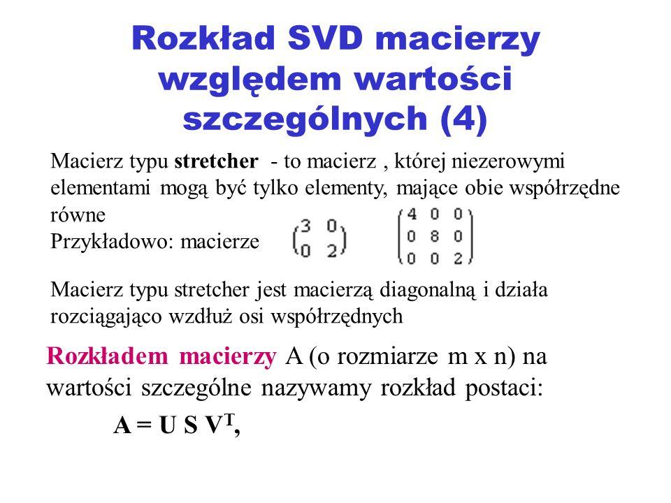 Rozkład SVD macierzy względem wartości szczególnych (4)