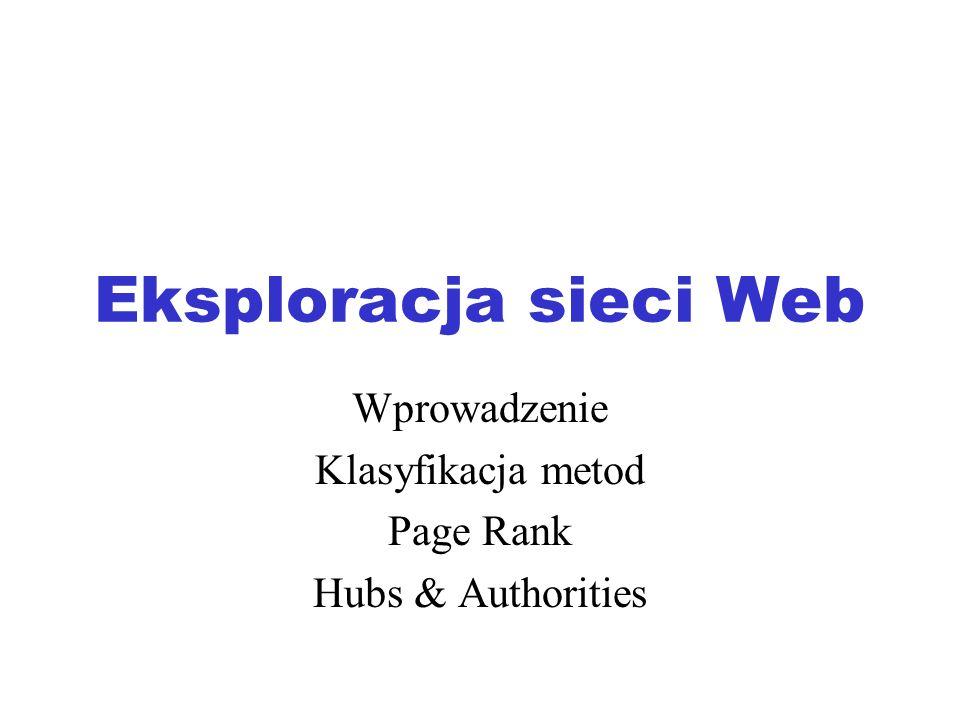Wprowadzenie Klasyfikacja metod Page Rank Hubs & Authorities