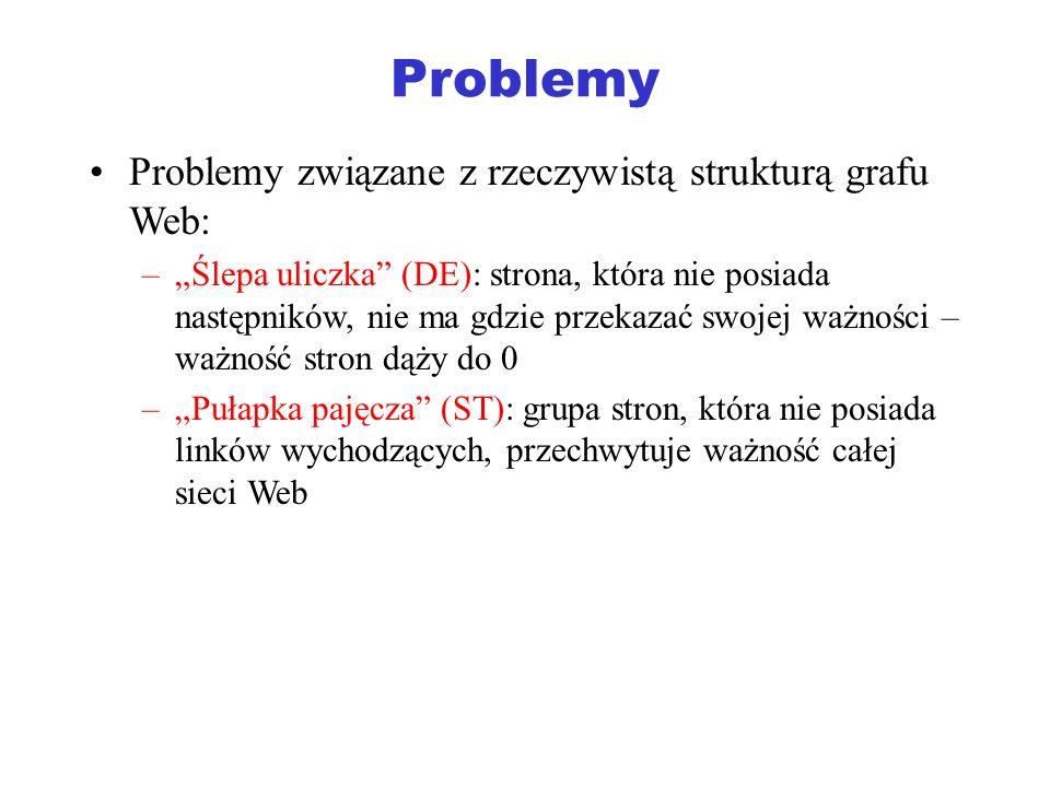 Problemy Problemy związane z rzeczywistą strukturą grafu Web: