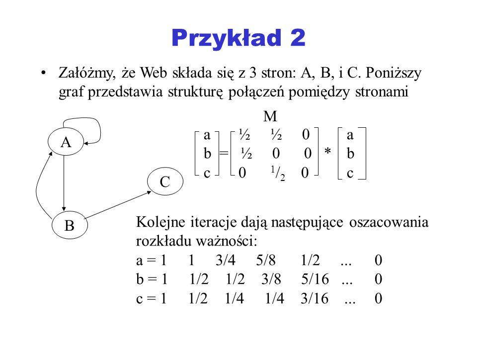 Przykład 2 Załóżmy, że Web składa się z 3 stron: A, B, i C. Poniższy graf przedstawia strukturę połączeń pomiędzy stronami.
