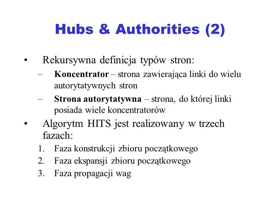 Hubs & Authorities (2) Rekursywna definicja typów stron: