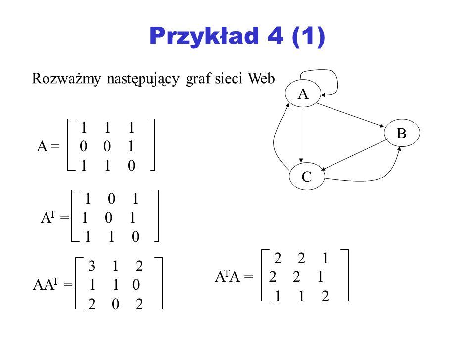 Przykład 4 (1) Rozważmy następujący graf sieci Web A 1 1 1 B A = 0 0 1