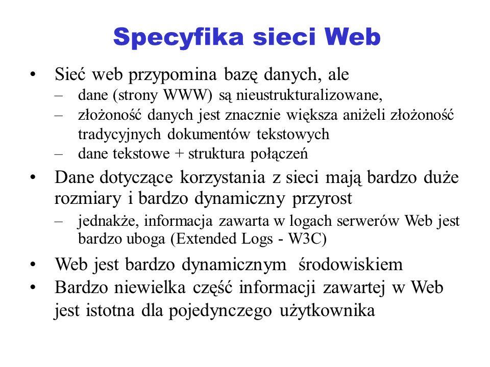 Specyfika sieci Web Sieć web przypomina bazę danych, ale