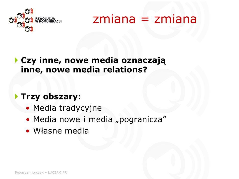 zmiana = zmiana Czy inne, nowe media oznaczają inne, nowe media relations Trzy obszary: Media tradycyjne.