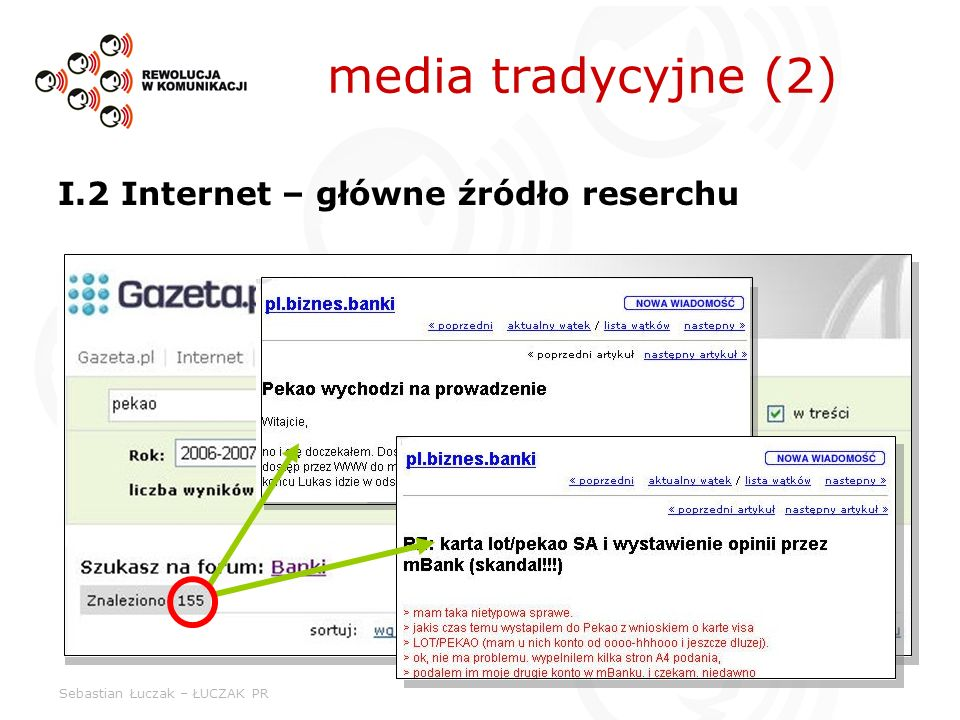 media tradycyjne (2) I.2 Internet – główne źródło reserchu
