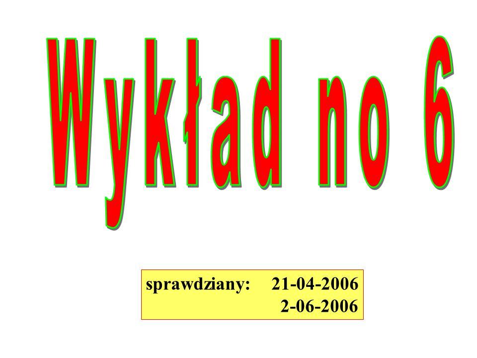 Wykład no 6 sprawdziany: 21-04-2006 2-06-2006