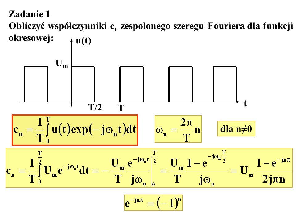 Zadanie 1 Obliczyć współczynniki cn zespolonego szeregu Fouriera dla funkcji. okresowej: u(t) Um.